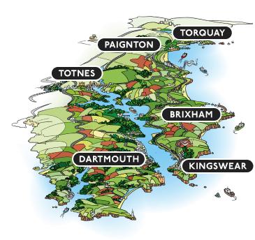 Map of South Devon coastline in South West England